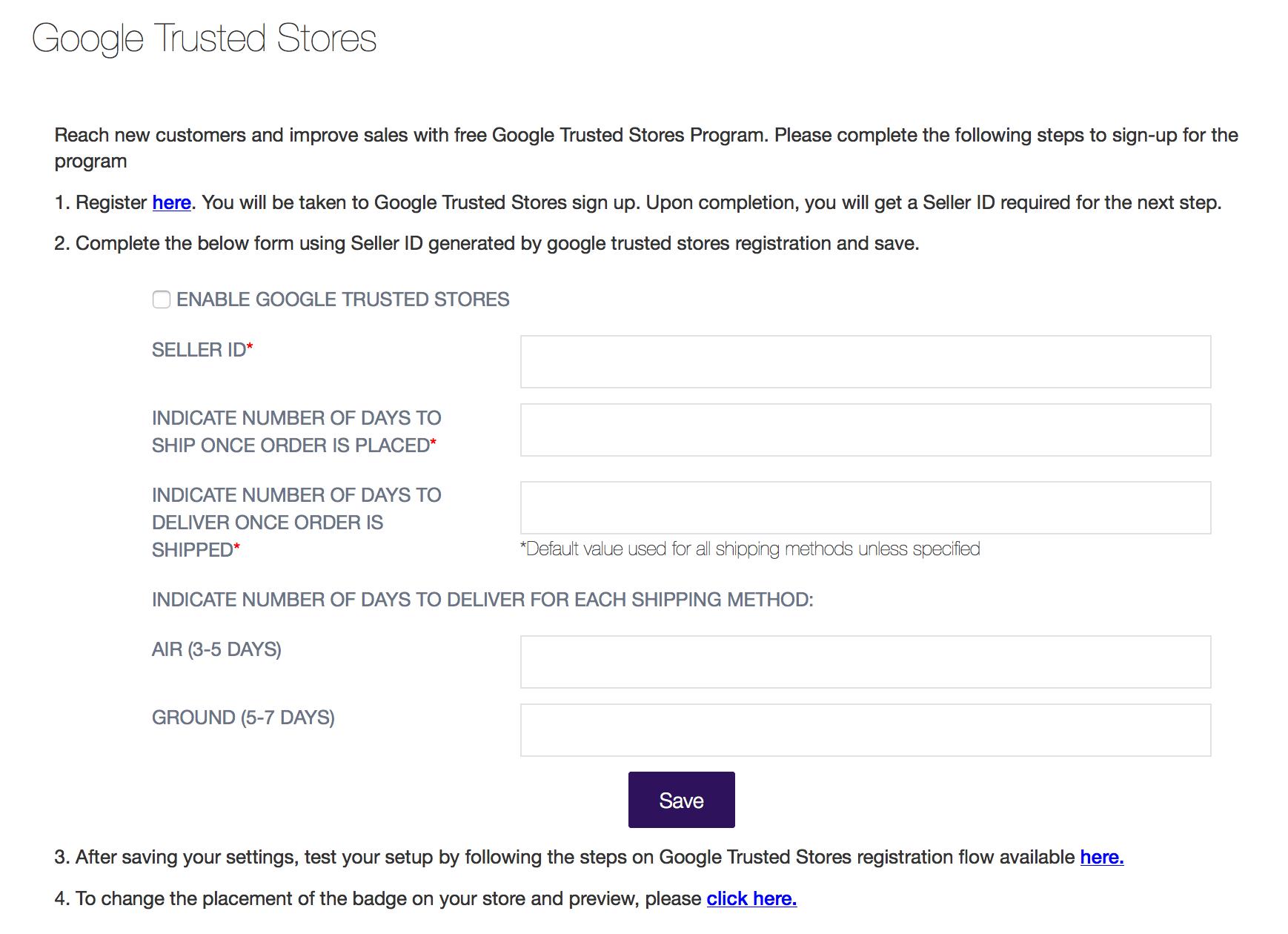 Google Trusted Stores Setup Option