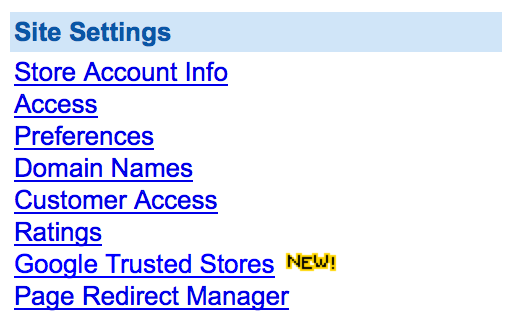 Google Trusted Stores Yahoo Store Settings